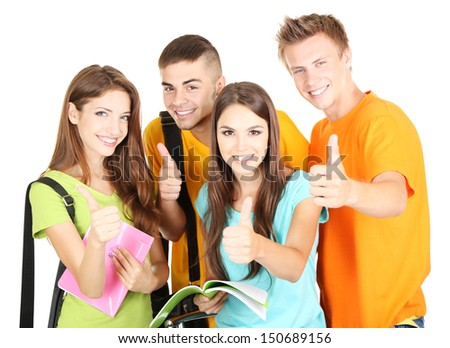 Happy group of beautiful young students, isolated on white - stock photo