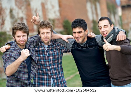 Happy Group of Boys Outside, Italy - stock photo
