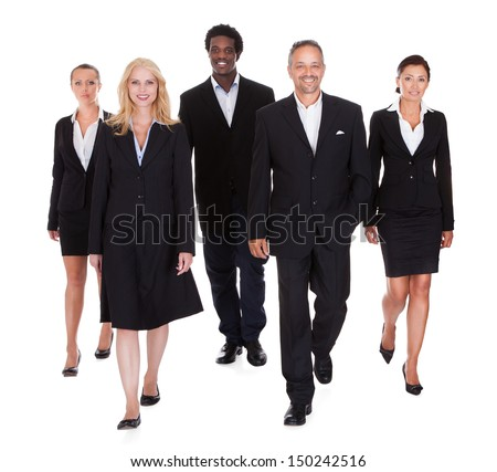 Happy Group Of Business People Standing Over White Background - stock photo