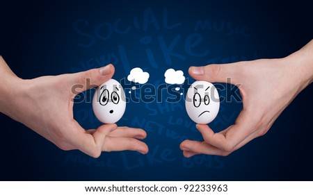 Happy group of eggs with smiling faces, social network theme - stock photo