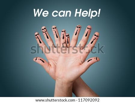Happy group of finger smileys - stock photo
