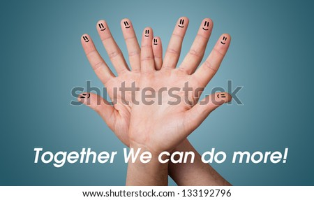 Happy group of finger smileys - stock photo