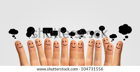 Happy group of finger smileys communicate with each other