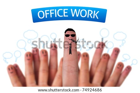 Happy group of finger smileys with office work sign and boss
