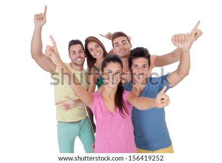 Happy group of friends isolated on white background - stock photo