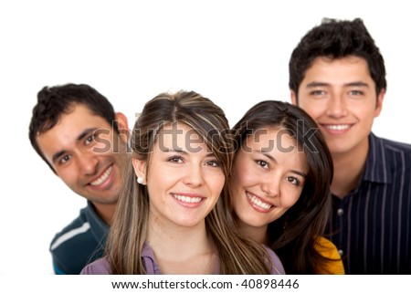 Happy group of friends isolated over a white background