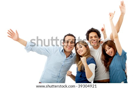 Happy group of friends isolated over white