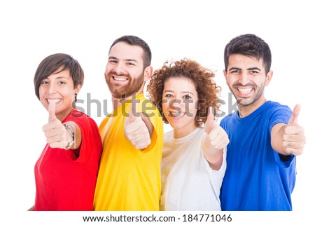 Happy Group of Friends on White Background - stock photo