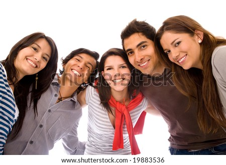 happy group of friends smiling with their heads together - isolated - stock photo