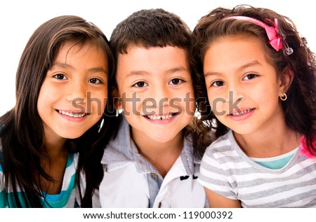 Happy group of kids - isolated over a white background - stock photo