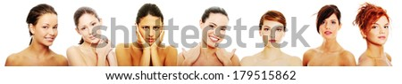 Happy group of of sexy caucasian young women  isolated over white  - stock photo