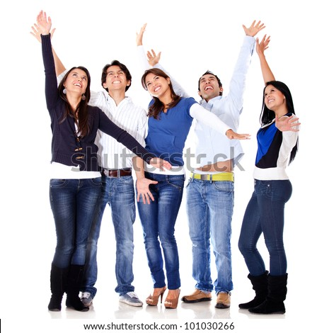Happy group of people celebrating - isolated over a white background - stock photo