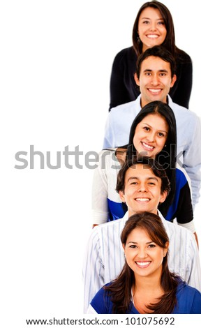 Happy group of people in a line - isolated over white - stock photo