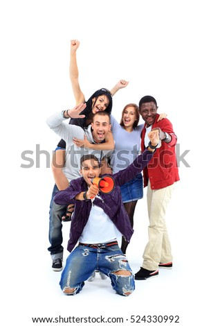 Happy group of people with arms up - isolated over white