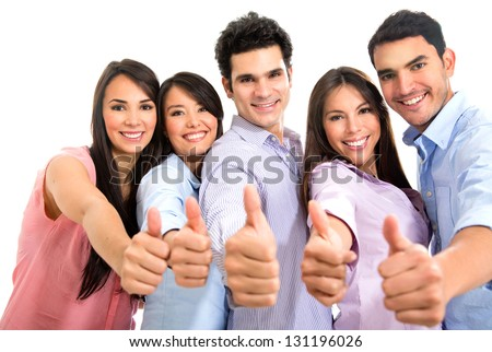 Happy group of people with thumbs up - isolated over white - stock photo