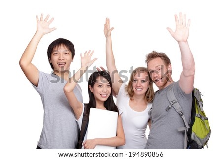 Happy Group of student and friends isolated on white background, asian and caucasian - stock photo