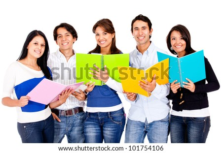 Happy group of students - isolated over a white background - stock photo