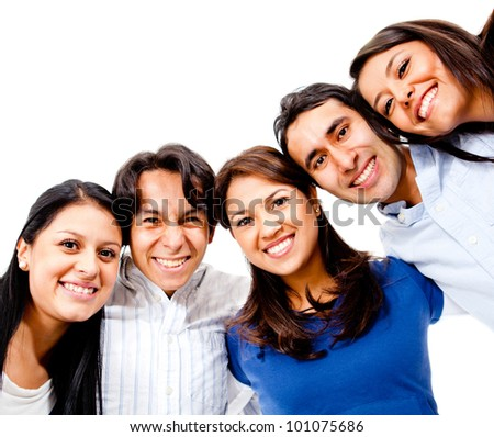 Happy group of young people smiling together - isolated