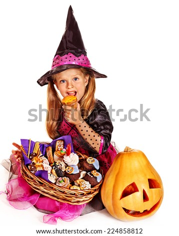 Happy group witch children at Halloween party. Isolated. - stock photo