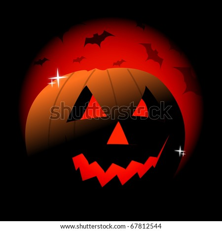 Happy halloween card with a evil pumpkin over a red and black background with vampires. - stock photo