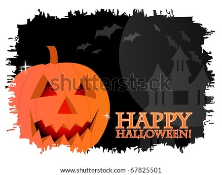 Happy halloween card with a pumpkin over a black background with vampires. - stock photo