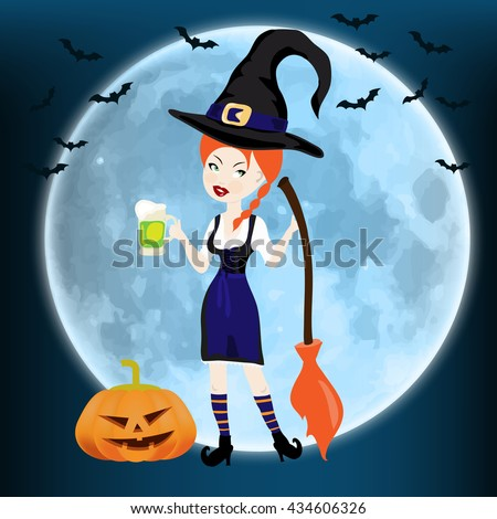 Happy Halloween card with witch with broom and pumpkin against the moon