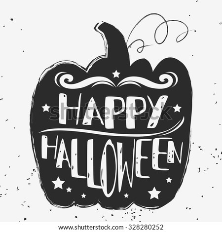 Happy halloween. Hand drawn typographic poster.  Lettering. For invitation, decor elements, greeting & postal cards. Halloween series - stock photo