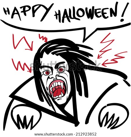 Happy halloween illustration of a vampire, hand drawn doodle with red thunderbolts and comics speech bubble on white