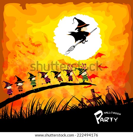 Happy Halloween party with kids under the moon - stock photo