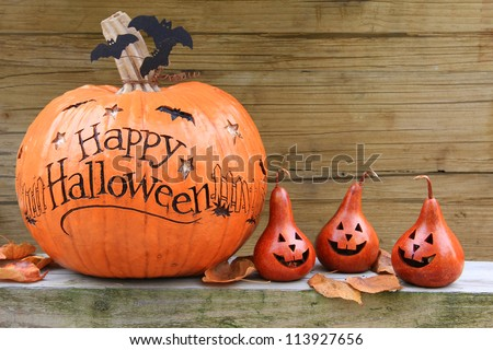 Happy Halloween pumpkin display - stock photo