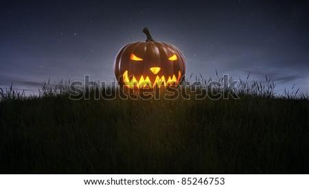 happy halloween pumpkin on lawn - stock photo