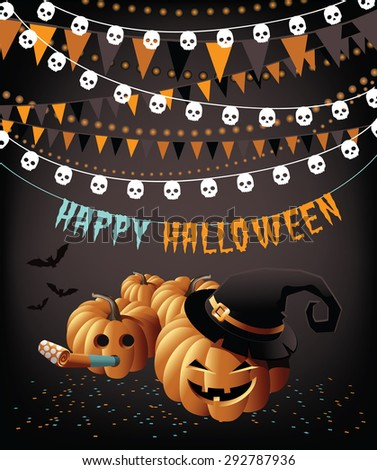 Happy Halloween pumpkins bunting and confetti greeting card  - stock photo