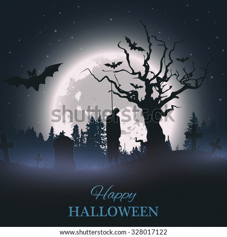 Happy Halloween retro poster. Background with spooky graveyard, naked tree, graves, bats and hanged man silhouette. - stock photo