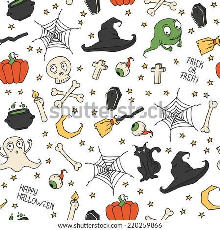 Happy Halloween. Seamless pattern with pumpkins, skulls, cats, spider's web, ghosts, monsters, witch hat. Trick or treat. Illustration. Background.