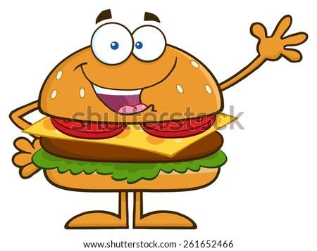Happy Hamburger Cartoon Character Waving. Raster Illustration Isolated On White - stock photo