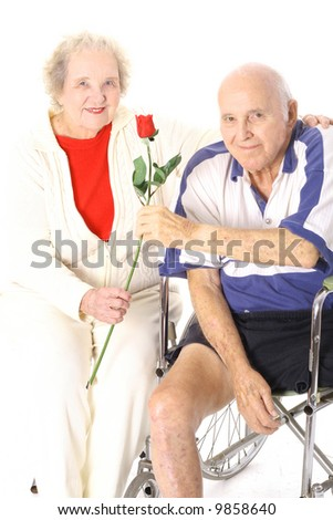 happy handicap couple vertical - stock photo