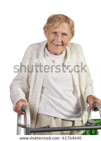 Happy handicapped old woman with walker. Shot against white background. - stock photo