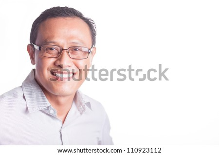Happy handsome businessman isolated over white background - stock photo