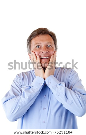 Happy handsome pensionist is surprised about news.Isolated on white background. - stock photo
