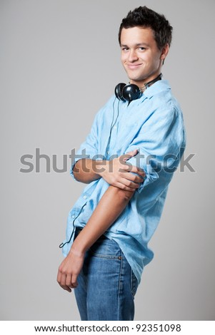 Happy handsome young male fashion model. - stock photo