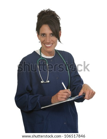 Happy healthcare nurse. Isolated against white background.