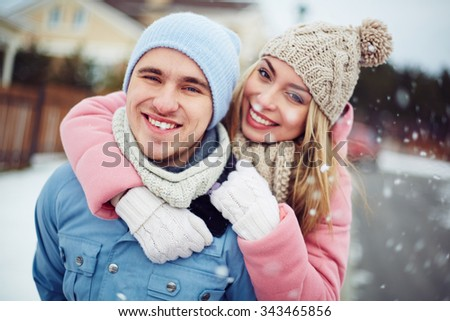 Happy healthy couple outdoors enjoying life - stock photo