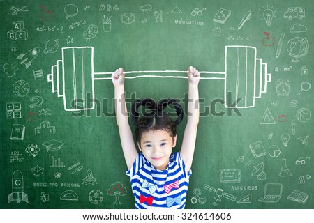 Happy healthy female kid weight lifting on grunge green chalkboard background with creative doodle freehand childhood chalk drawing: International day of girl child, women's children's day concept  - stock photo
