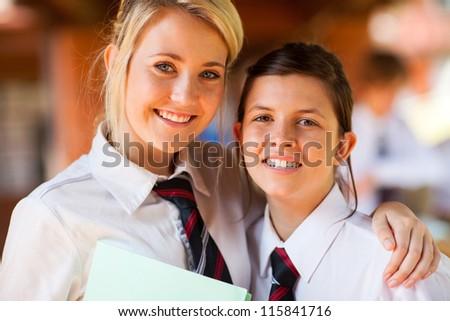 happy high school friends closeup portrait - stock photo
