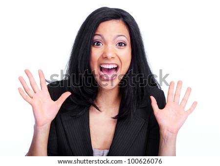 Happy hispanic business woman. Isolated on white background. - stock photo