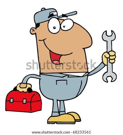 Happy Hispanic Mechanic Man With A Tool Box And Wrench - stock photo