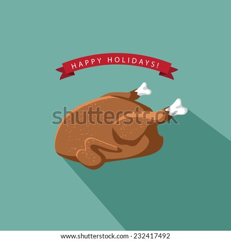 Happy Holidays Cartoon flat cooked turkey   - stock photo