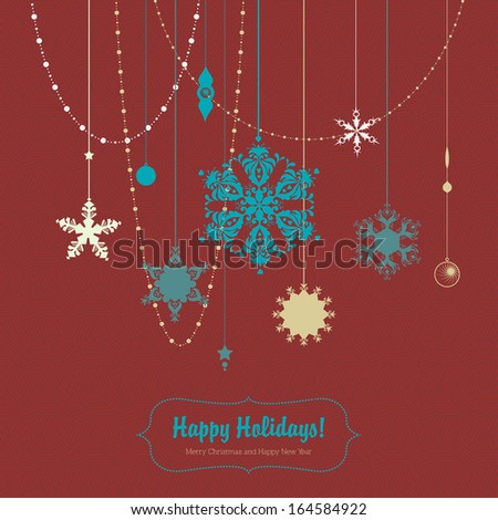 Happy Holidays Illustration with snowflakes