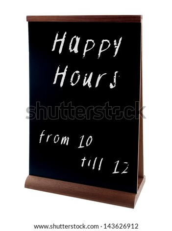 Happy hours sign on chalkboard stand (people stopper) isolated on white - stock photo