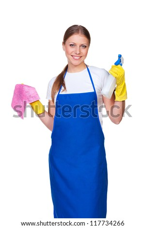 happy housewife in blue apron. isolated on white background - stock photo
